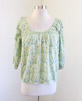J Crew Liberty of London Peasant Top in Green Lodden Paisley Floral Blouse XS