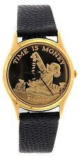 """MEN'S PEDRE UNCLE SCROOGE COIN FACE  """"TIME IS MONEY"""" QUARTZ WATCH"""