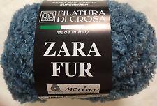 Filatura di Crosa Zara Fur Yarn #12 Denim Blue Merino Superwash Short Eyelash