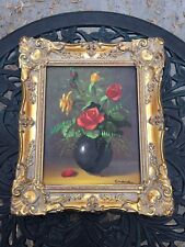 Made In Holland Canvas Floral Painting Signed Crane Carved Gold Solid Wood VTG