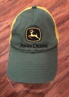 VINTAGE JOHN DEERE *Gold & GREEN* SNAPBACK MESHBACK  TRUCKERS HAT BASEBALL CAP