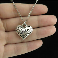 "20-3 18"" Silver Collar Chunky Necklace Spring Girls 19mm Leaf Wind Heart Pendant"