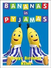 BANANAS IN PYJAMAS A4 Edible Icing Birthday Cake Party Decoration Topper #1