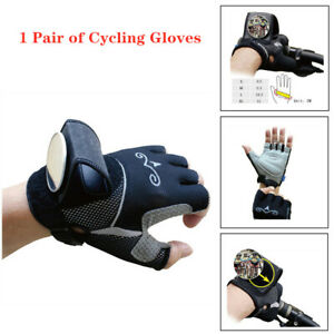 Breathable Anti-Slip Bike Bicycle Cycling Rearview Mirror Half Finger Gloves Kit