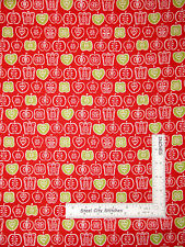 Fruit Apple Red Kitchen Food Apples Cotton Fabric Makower 1344 Juicy - Yard