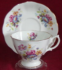 Royal Albert Porcelain England Floral Footed Malvern Cup & Saucer Set -1960's