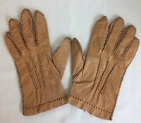 Driving Gloves Tan Leather Womens Mens Unisex Vintage