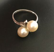 AUTHENTIC 1960'S MIKIMOTO SILVER & TWO PEARL RING NEW GUINEA VALUED $850