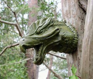 Mystic Dragon Head, Concrete Garden Decor, Wall Plaque by Noted Artist R. Warsin