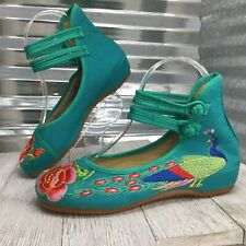 Women's Green Peacocks Rose Hidden Wedge Ankle Strap Closure Comfort Shoe Size 5