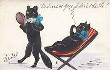 Katze, Katze im Liegestuhl, handgemalte Karte, 1935