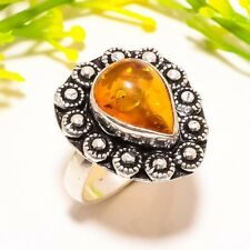 Jewelry Ring Size 6.5 Sr-669 Amber Gemstone Ethnic Silver Fashion