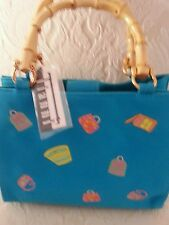 Ladies canvas purse, turquoise with purses & bamboo handles and magnetic closure
