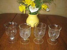 Set of 4 Antique Spooners-PressedGlass tri-mold,1870's,use as goblets,sugars too