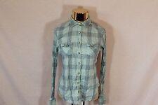 Women's Green American Eagle Plaid Pearl Snap Shirt - Size 8