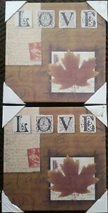 """Inspirational canvas wall art  LOVE  Home  decor  14""""x 14""""In  lot of 2"""