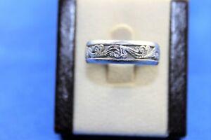 Men's Platinum Scroll Wedding Band Size 12 3.78mm