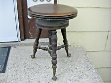 Vintage Oak Piano Stool Ornate, with Glass Ball & Claw Feet Adjustable