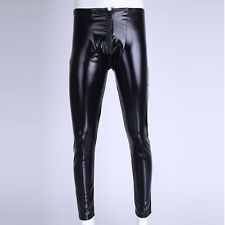 Mens Legging Shiny Leather Tight Pants Clubwear Sexy Long Trousers Open Pouch