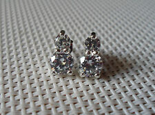 QVC Diamonique cz Sterling/Epiphany Platinum two Stone Stud Earrings