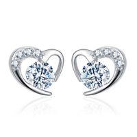925 Silver Austrian Crystal Love Heart Ear Stud Earrings For Women Girl's Gift