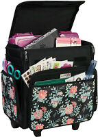 Everything Mary Collapsible Rolling Craft, Flowers - Wheeled Scrapbook Tote for