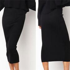 Women Ribbed Knitted Pencil  Bodycon Stretch Muslim Knee High Waist Black  Skirt