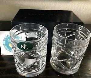 Set of 2 Ralph Lauren Brogan Glasses Tumbler DOF Whiskey 11.3oz New in gift box
