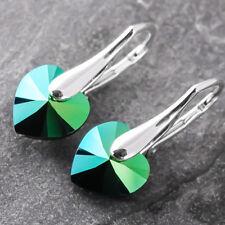 925 Sterling Silver Earrings Metallic Green Heart Crystals From Swarovski®