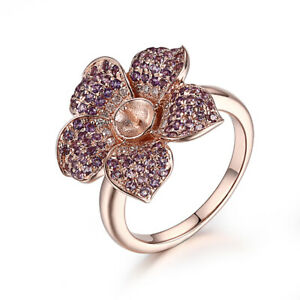 Pearl 5mm to 6mm 0.7CT Amethyst Real Diamonds Fashion Flower Ring 10K Rose Gold