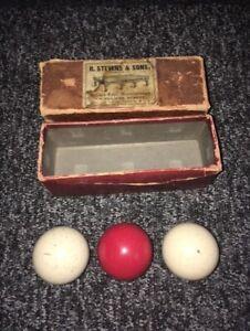 R STEVENS & SONS Set of 3 Vintage/Antique VICTORIAN SNOOKER BILLIARD BALLS