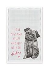Pug Themed Tea Towel - East Of India Gift