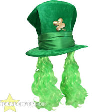 d2347d7bfbe GREEN ST PATRICK S DAY HAT WITH ATTACHED HAIR + SHAMROCK IRISH SUPPORTER LOT