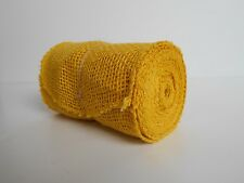 "Yellow BURLAP JUTE Mesh Ribbon Roll, 5.5"" Wide x 15"",  Unwired Finished Edge"