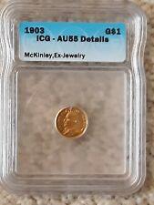 1903 AU55 Details ICG MCKINLEY ONE DOLLAR $1 GOLD PIECE COIN LOUISIANA PURCHASE