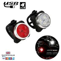 USB Bright Bike Light Set LED White Red IPX5 Waterproof Lights Rechargeable