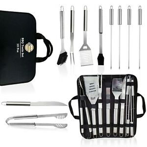 BBQ Grilling Accessories Set, 10 PCS Grill Accessories with Carrying Case