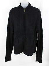 Pink Pineapple Women's Black Cable Knit Full Zip Cashmere Sweater Top Size XL