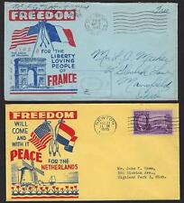 US FRANCE NORWAY GREECE DENMARK NETHERLANDS 1945 FIVE WWII PATRIOTICS FREEDOM