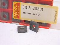 NEW SURPLUS 10PCS. SANDVIK 331.31-3512-31  GRADE: H13A  CARBIDE INSERTS