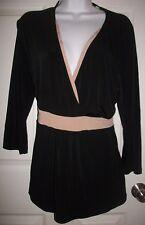 New York & Company Stretch Women's Black & Tan Top Shirt Size XL