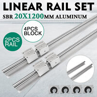 SBR 20-1200mm 20MM LINEAR SLIDE GUIDE SHAFT 2 RAIL+4SBR20UU Bearing Block CNC