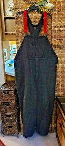 Vtg 90s WOOLRICH Gray Plaid Wool Bib Overalls Mens Hunting 1994 USA Size XL