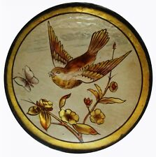 Rare Pretty English Victorian Painted Swallow & Butterfly Stained Glass Roundel