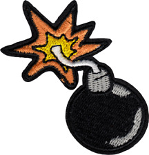 """Patch - Bomb Lit Fuse Fire Explosion Embroidered 2.63"""" Iron On Patch 22205 Cool"""