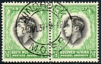 1937 South West Africa Sg 97 ½d black and emerald with Windhoek MOSB Cancel