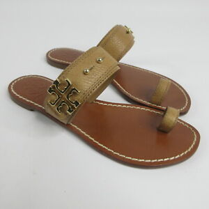 Tory Burch Elina Tan Leather Gold Logo Toe Ring Sandals Womens Size 6 M