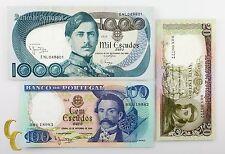 1964-1980 Portugal 3 pc Notes 20, 100, 1000 Escudos (VF+ to UNC) Condition