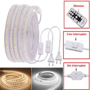 Tira LED AC 220V Smd 2835 60/120 Leds/m Impermeable IP67 Con enchufe Cálido Frío