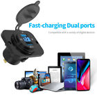 4.2a Dual Usb Charger Socket Blue Voltage Voltmeter For All Car Boat Truck Autos